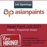 Asian Paints Job Recruitment 2021   Programmer Analyst   BE/B.Tech/MCA/M.Sc