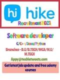Hike Messenger Job Recruitment 2021   Java/C/C++/Ruby/Python   BE/B.Tech/ME/M.Tech
